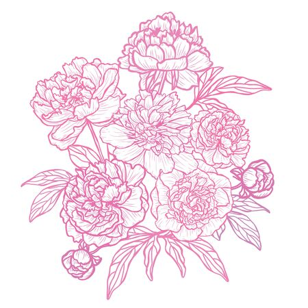 Illustration pour Decorative abstract  flowers, design elements. Can be used for cards, invitations, banners, posters, print design. Floral background in line art style - image libre de droit