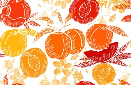Illustration for Elegant seamless pattern with peach fruits, design elements. Fruit  pattern for invitations, cards, print, gift wrap, manufacturing, textile, fabric, wallpapers. Food, kitchen, vegetarian theme - Royalty Free Image
