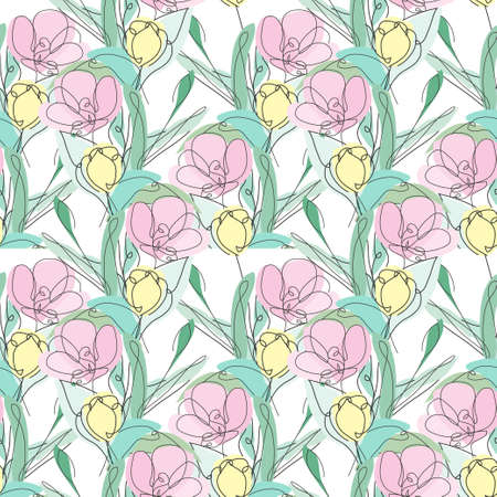 Illustration for Elegant seamless pattern with tulip flowers, design elements. Floral  pattern for invitations, cards, print, gift wrap, manufacturing, textile, fabric, wallpapers. Continuous line art style - Royalty Free Image