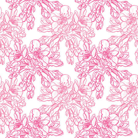 Illustration pour Elegant seamless pattern with sakura flowers, design elements. Floral  pattern for invitations, cards, print, gift wrap, manufacturing, textile, fabric, wallpapers - image libre de droit