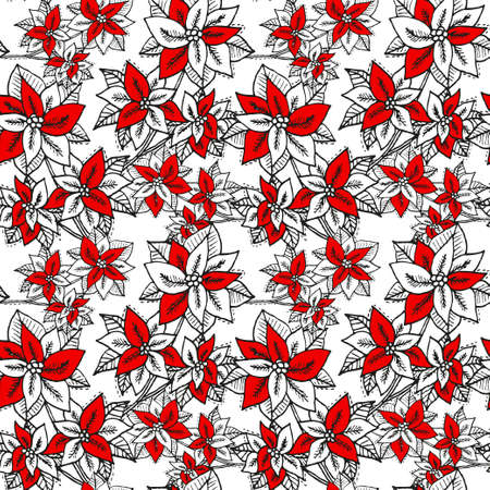 Illustration pour Winter seamless pattern with poinsettia, design elements. Christmas  pattern for invitations, cards, print, gift wrap, manufacturing, textile, fabric, wallpapers. New Year theme - image libre de droit