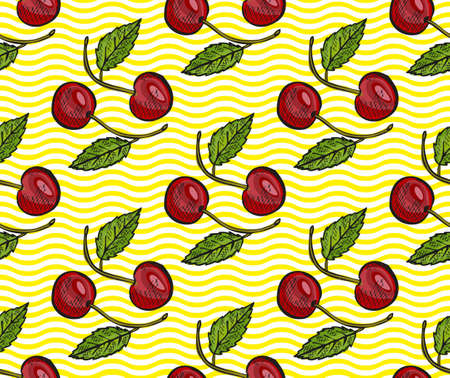 Illustration pour Elegant seamless pattern with cherry fruits, design elements. Fruit  pattern for invitations, cards, print, gift wrap, manufacturing, textile, fabric, wallpapers. Food, kitchen, vegetarian theme - image libre de droit