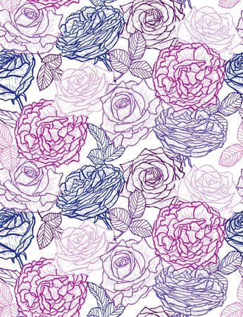 Illustration pour Elegant seamless pattern with rose flowers, design elements. Floral  pattern for invitations, cards, print, gift wrap, manufacturing, textile, fabric, wallpapers - image libre de droit