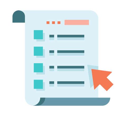 Illustration pour Paper list with a cursor mouse vector illustration in flat color design - image libre de droit