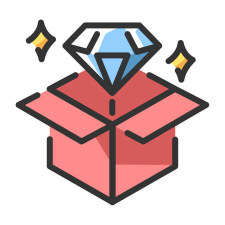 Diamond with opening box vector illustration in line color design