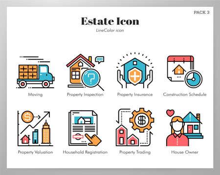 Illustration pour Estate vector illustration in line color design - image libre de droit