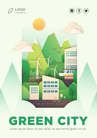 Ilustración de Eco city vector illustration poster with text layout - Imagen libre de derechos