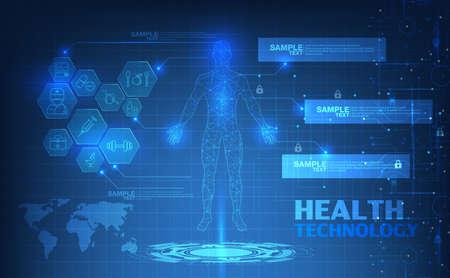 Illustration pour abstract technological health care; science blue print; scientific interface; futuristic backdrop; digital blueprint of human; 3D body part of human,icons health vector illustration. - image libre de droit