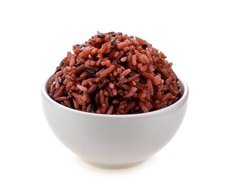 Foto per brown rice in white bowl on white background - Immagine Royalty Free
