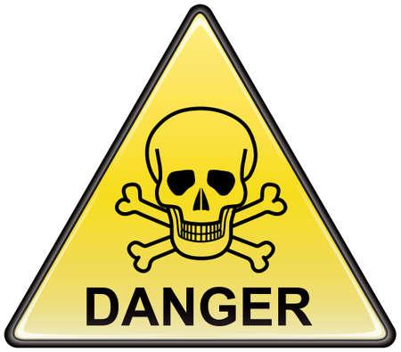 Skull and bones danger triangular vector sign