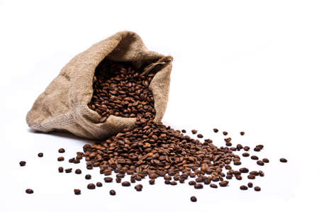 Coffee beans sack with scattered beans isolated on white background