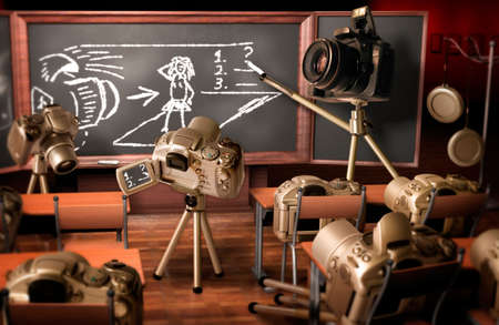 Photography lesson. Funny image about teaching photography.
