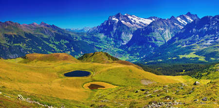 Photo pour Swiss Alps mountains summer panorama. - image libre de droit