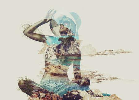 Photo pour Young woman on beach and tropical nature concept portrait. Double exposure technique. - image libre de droit