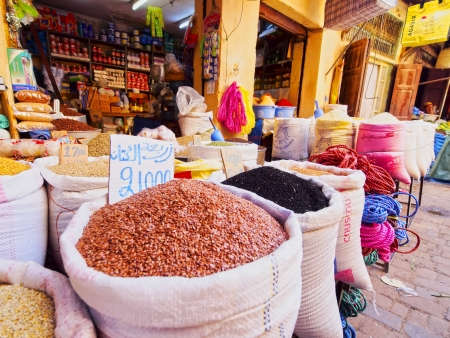 Typical street market in the old medina of Fes, Morocco, Africa