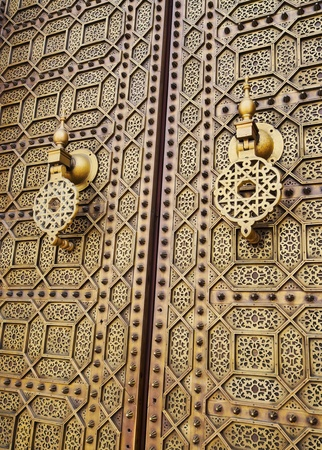Beautifully decorated Moroccan Doors of the Hassan Mosque in Rabat, Morocco, Africa