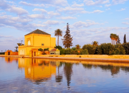 Saadian garden pavilion of the Menara gardens in Marrakech, Morocco, Africa