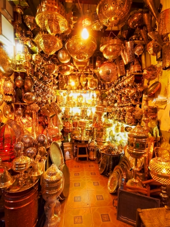 Shop in the old medina of Marrakesh, Morocco, Africa