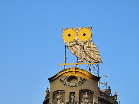 Owl on Placa de Mossen Jacint Verdaguer in Barcelona, Catalonia, Spain