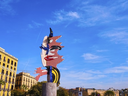 El Cap de Barcelona - a surrealist sculpture created by American Pop artist Roy Lichtenstein for the 1992 Summer Olympics in Barcelona, Catalonia, Spain.