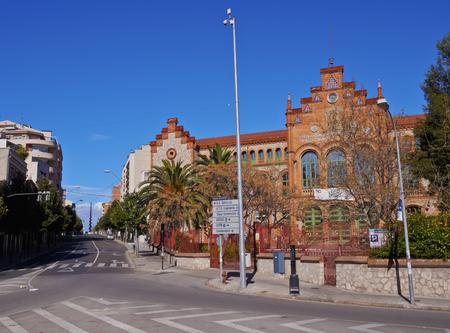 Spain, Catalonia, Barcelona Province, Terrassa, View of the Escuela Universitaria de Ingenieria Tecnica.