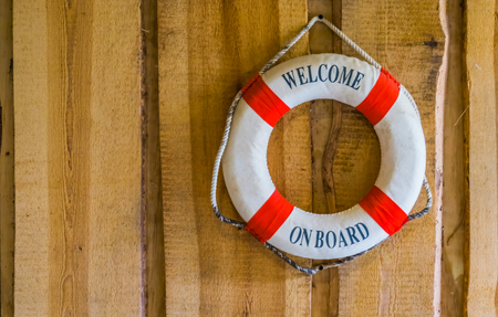 Photo pour life buoy with the text welcome on board, nautical and travel background - image libre de droit