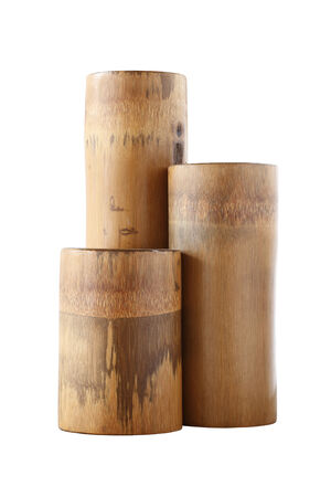 Triple dry bamboo segment isolated on white