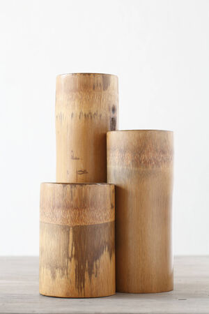 Triple dry bamboo segment oon wooden table