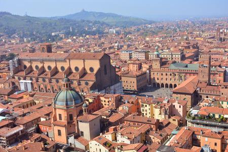 Foto de Panoramic view of Bologna city from tower Asinelli, Emilia-Romagna, Italy - Imagen libre de derechos