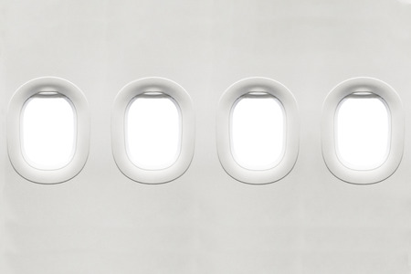 Photo pour Isolated airplane window from customer seat view - image libre de droit