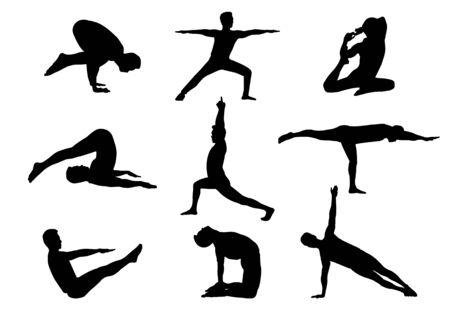 Illustration pour isolated silhouette man in yoga posture - image libre de droit