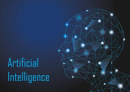 Illustration pour Low Poly Human Head For Artificial Intelligence Technology Concept - image libre de droit