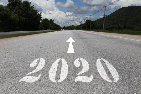 Photo pour happy new year concept of road heading to 2020 - image libre de droit