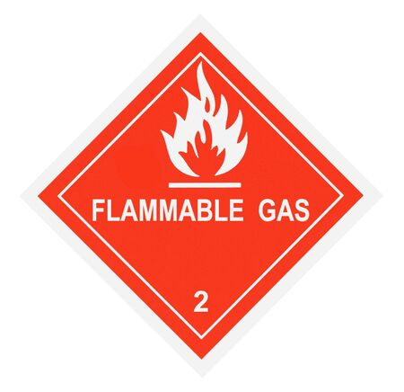 United States Department of Transportation flammable gas warning label isolated on white
