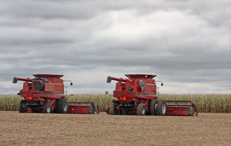 Two combines in a farm field with storm clouds