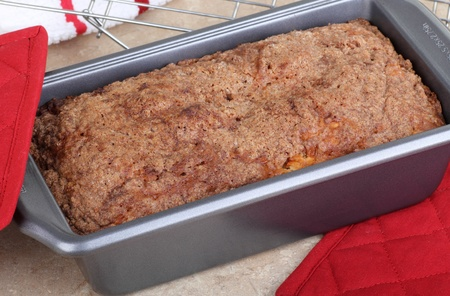 Baked quick bread in a baking pan
