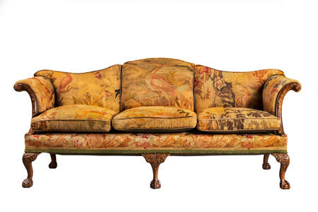 sofa antique sofa settee with old original tapestry upholstery isolated on white with clip path