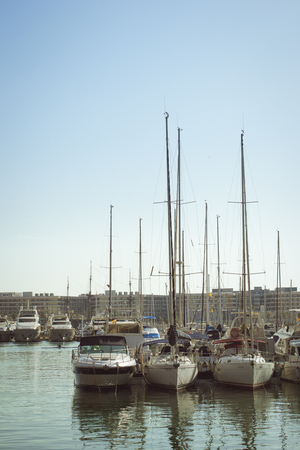 ALICANTE, SPAIN - SEPTEMBER 9, 2014: a boats stands on the dock at the waterfront, Alicante, Spain