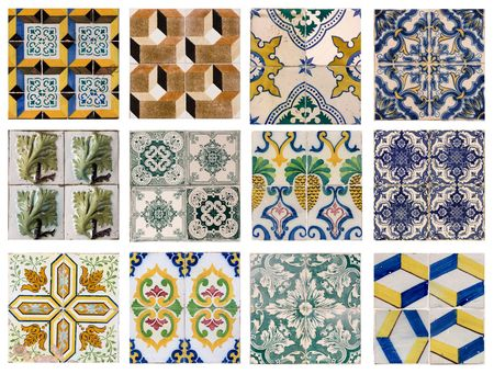 12 patterns of Portuguese tiles