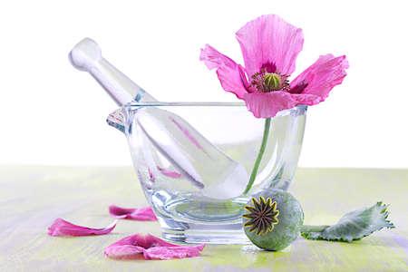 phytotherapy  popy flower in glass mortar