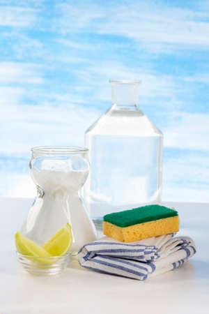 Organic cleaners. White vinegar, lemon and sodium bicarbonate.