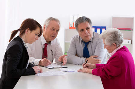 inheritance counselor meeting with Senior woman about her Last Will
