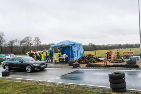 November 24, 2018 Grance, Bernay: Demonstrators called yellow vests during a demonstration against the increase of fuel cost, expensive living costs and high rate of taxation