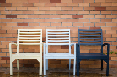 Chair and brick wallの写真素材