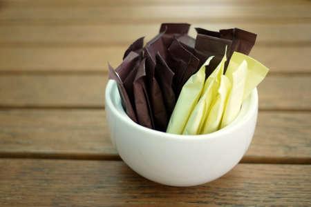 brown and white sugar sticks