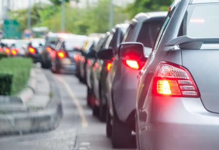 Car queue in the bad traffic road. Selective focus.