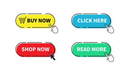 Illustration pour Buy now button. Shop now, Click here, Read more buttons. Vector illustration. on white background - image libre de droit
