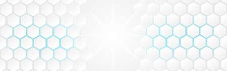 Illustration pour White abstract polygon banner background. Vector 3d hexagon paper of business technology blue energy texture. - image libre de droit