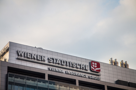 BELGRADE, SERBIA - AUGUST 1, 2018: Wiener Stadtische logo on their main office in Belgrade. Wiener Stadtische, part of Vienna Insurance Group, is one of the main insurance companies in Balkans