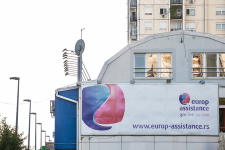 BELGRADE, SERBIA - SEPTEMBER 1, 2018: Logo of Europ Assistance in front of its main office for Belgrade. Europ Assistance is an international French group specialized in travel assistance and insurance